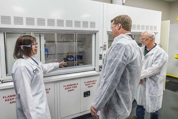 Dr. Laura Haupert shows guests new R&D facility